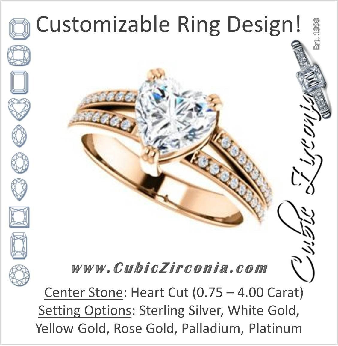 55c78cfb1b Cubic Zirconia Engagement Ring- The Trudy (Customizable Heart Cut Style  with Wide Double Pavé Band)