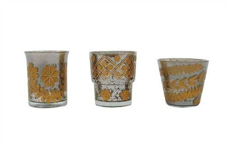 Etched Gold and Smoke Mercury Glass Tealight Holder, Set of 12