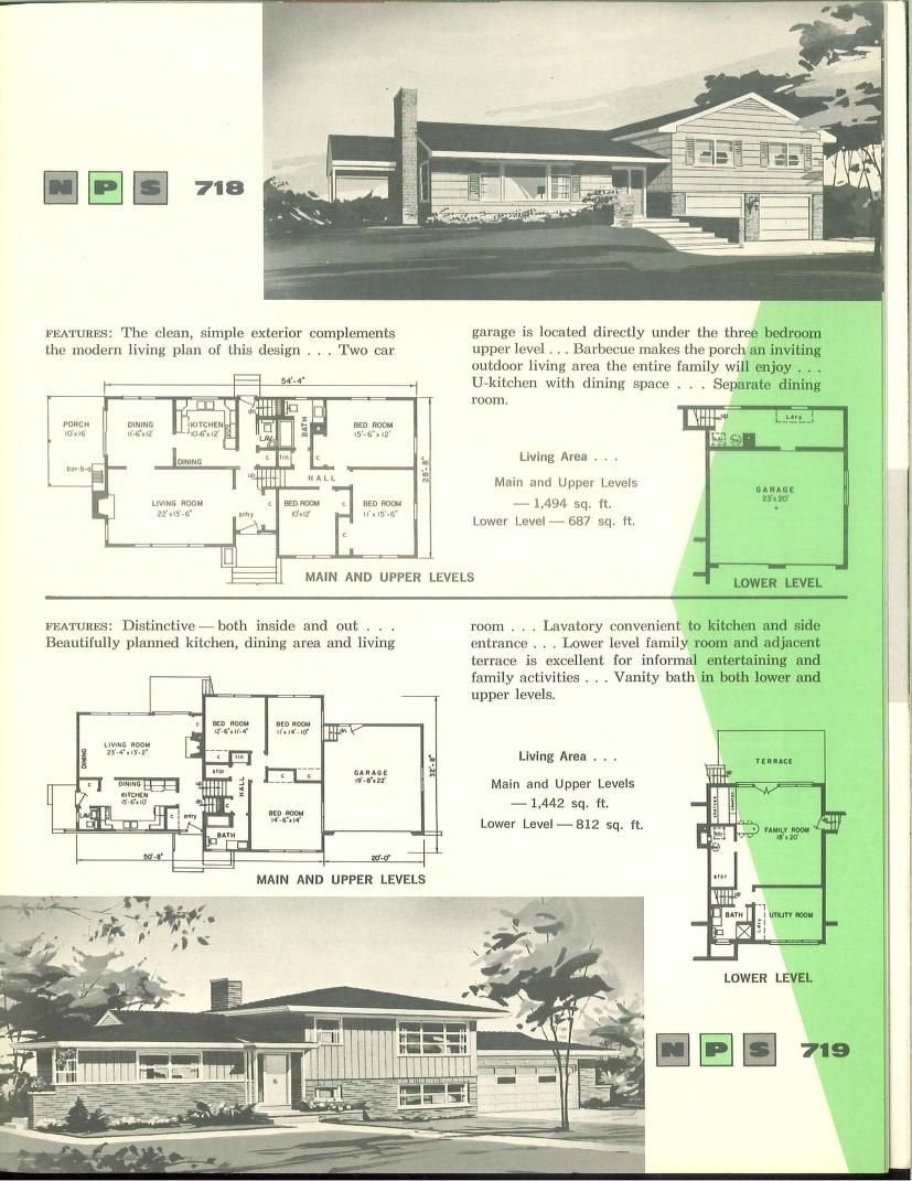 Nps Multi Level Homes 1961 Vintage House Plans 1960s Split Level