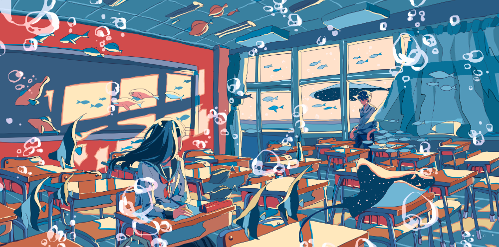 anime original boy classroom school wallpaper