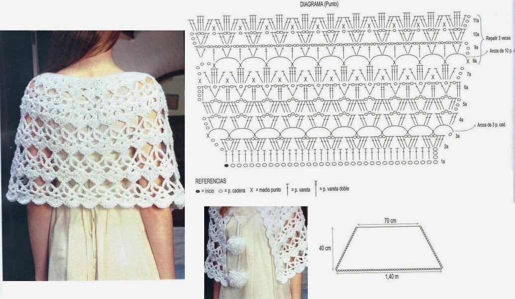 poncho de croche com graficos | Ganchillo | Pinterest | Croché, Chal ...