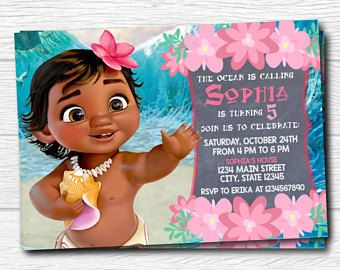 Moana Invitation Invite Baby Party Digital Printable