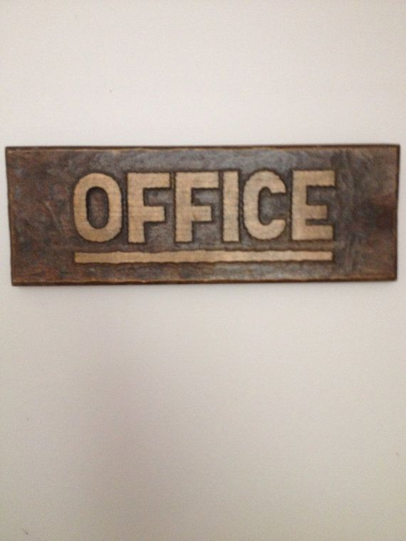 genuine vintage wooden office sign work spaces pinterest