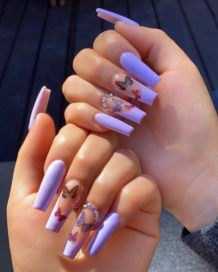 Manicure Purple Acrylic Nails Long Acrylic Nails Coffin Summer Acrylic Nails