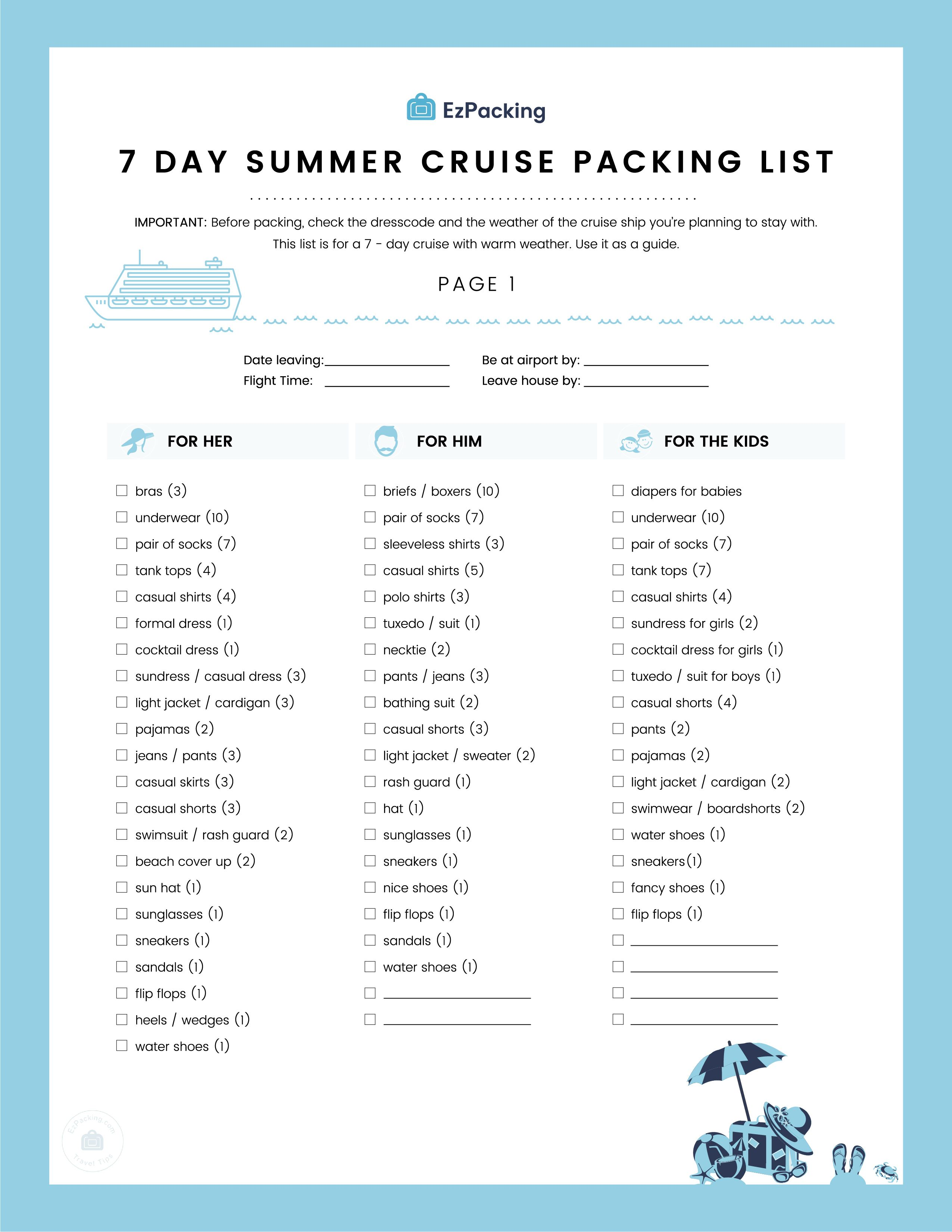 7f17715737 Packing For A Cruise? Check out our 7-Day Summer Cruise Packing List ...
