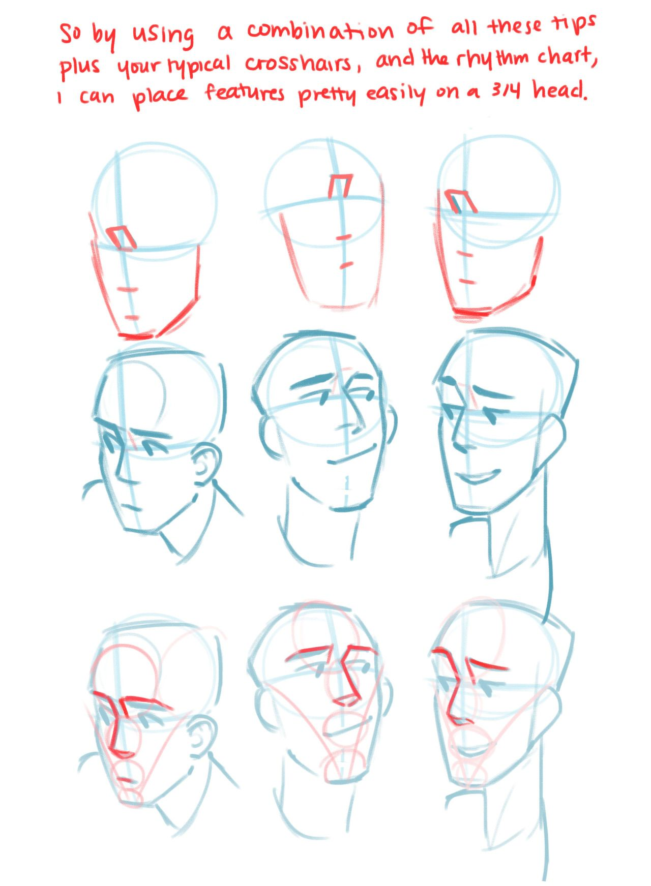 how to draw heads tumblr