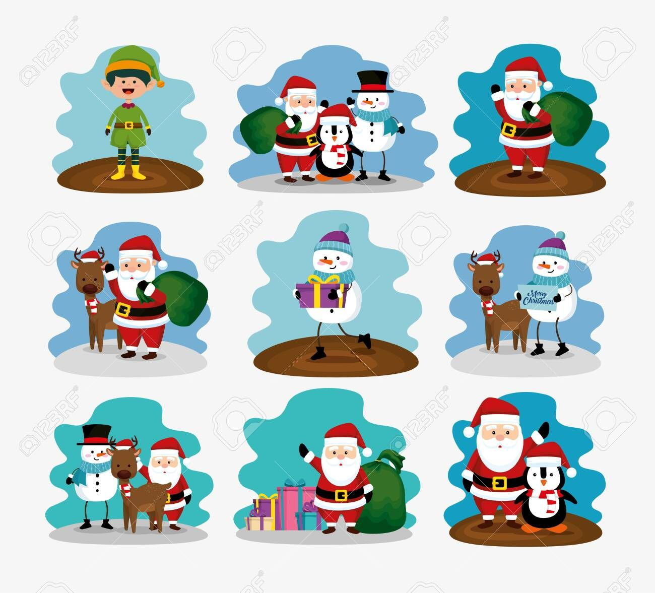 bundle christmas with reindeer and set characters vector illustration design , #affiliate, #reindeer, #set, #bundle, #christmas, #illustration
