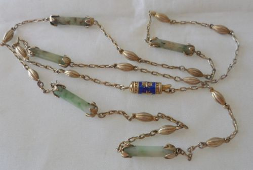VINTAGE-CHINESE-BEAUTIFUL-JADE-STERLING-ENAMEL-NECKLACE