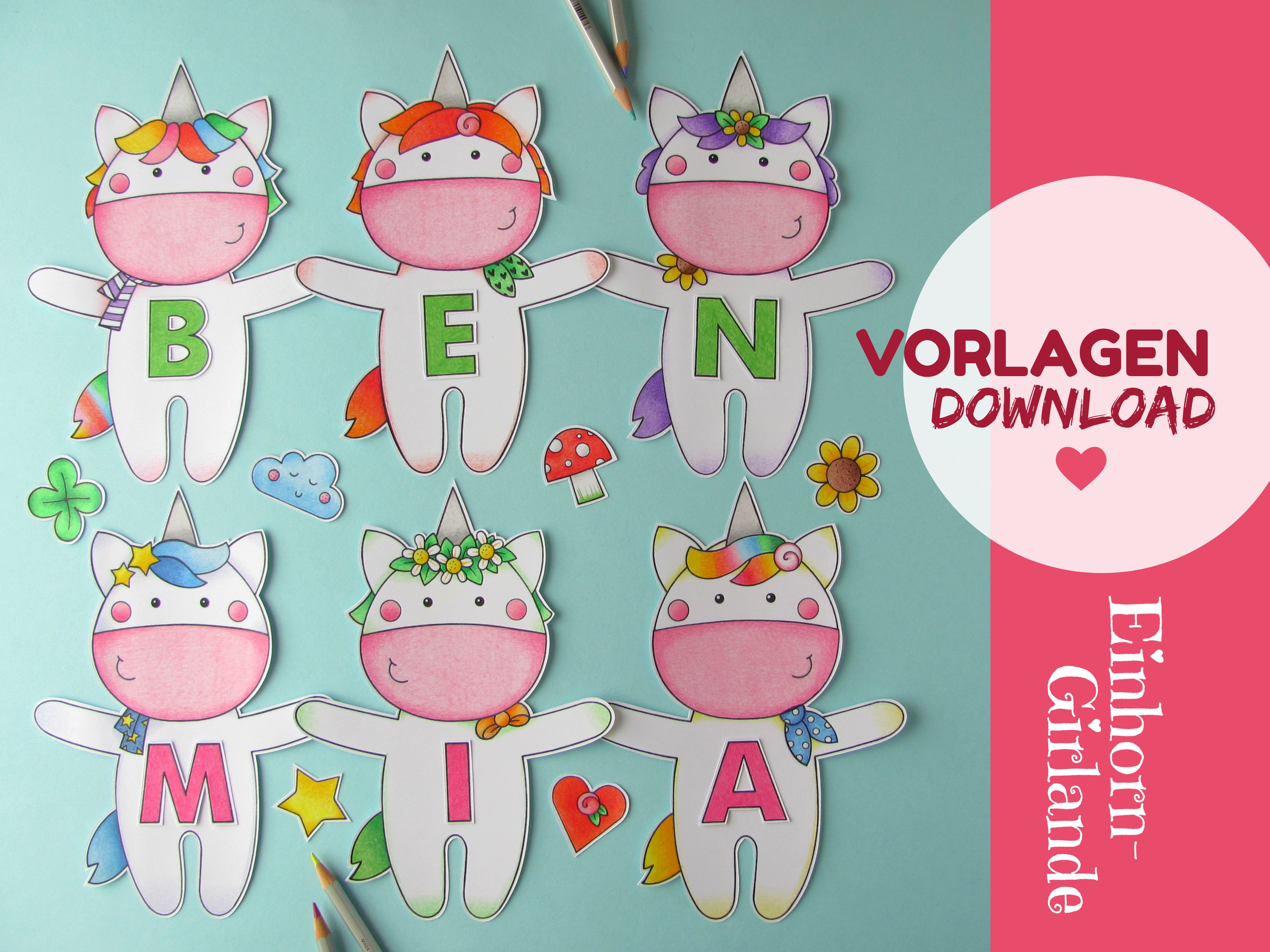 Digital Download, Unicorn Name Garland, 12 Pages, Black/White in