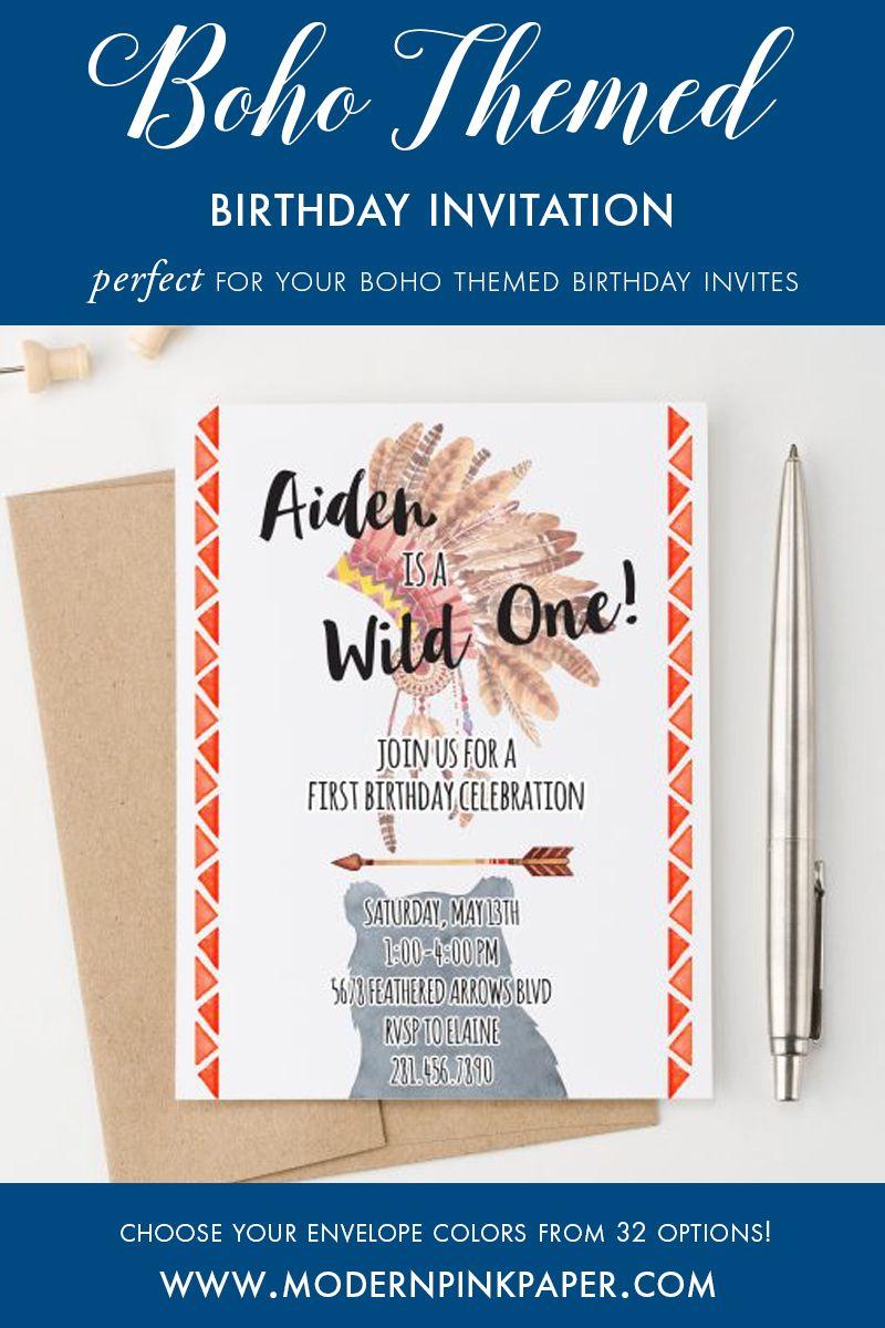 Bohemian Birthday Invitations, Wild One Birthday Invitations for ...
