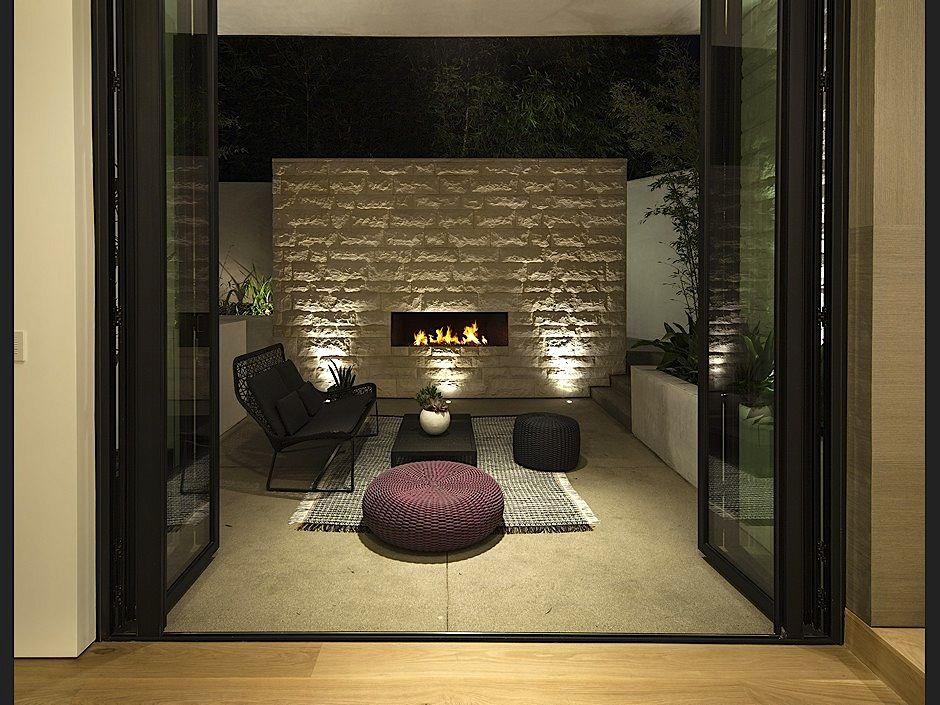 Cozy Patio Outdoor Fireplace Ultra Modern Homes Modern Patio
