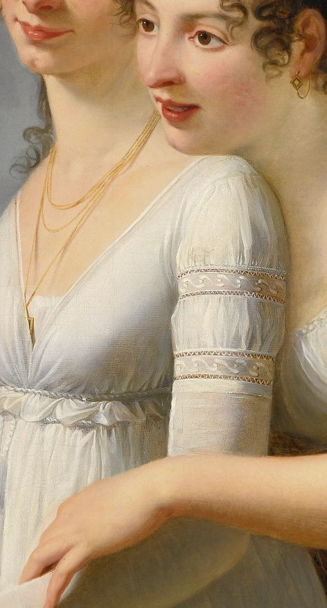 Robert Jacques François Lefèvre, Portrait of two Elegantly Dressed Ladies, detail