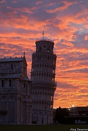 Leaning Tower of Pisa, Italy, Pisa, Tuscany, Toscana, Cathedral, church, Piazza del Duomo, red clouds, sunrise   Jörg Dauerer, Photography