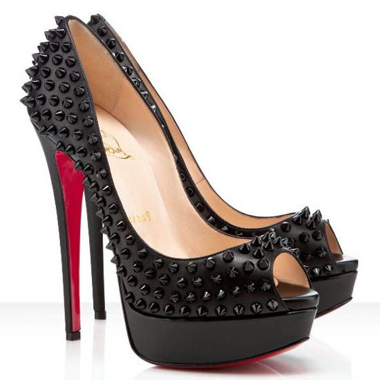 christian louboutin lady peep with spikes