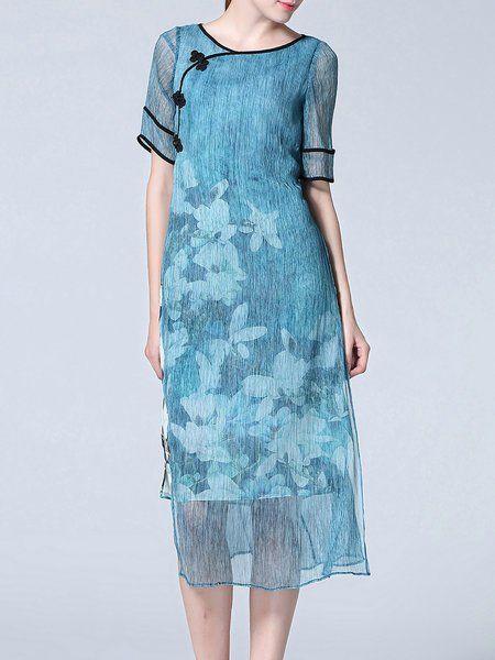 0f646925ca Shop Midi Dresses - Blue H-line Short Sleeve Midi Dress online. Discover unique  designers fashion at StyleWe.com.