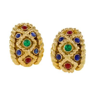 David Webb Mid 20th Century Shire Ruby Emerald And Gold Earrings By