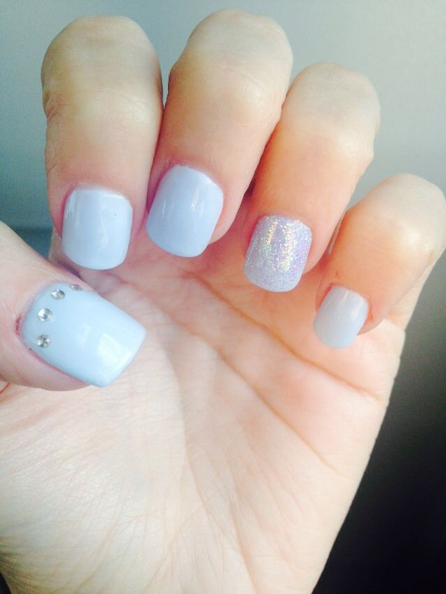 Baby blue nails with a hint of sparkle