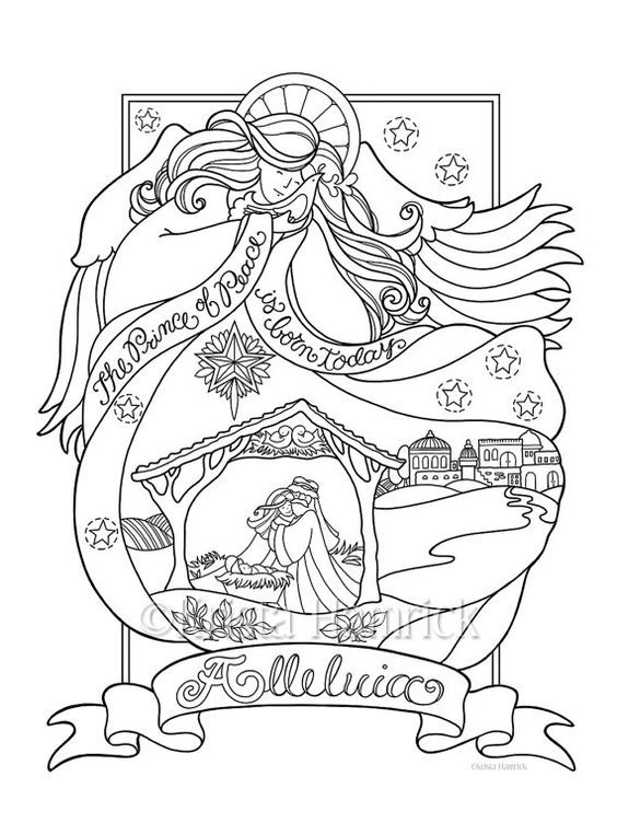 angel nativity coloring page in three sizes 85x11 8x10