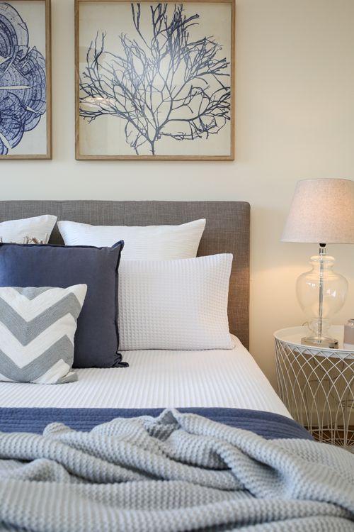 Shabby Chic, Coastal, Beach Style, Hamptons, Master Bedroom, Waffle Bedding,