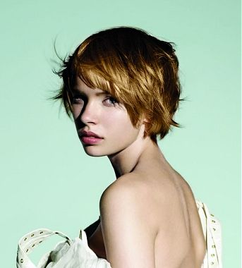 A short red straight coloured choppy Womens haircut hairstyle by ...