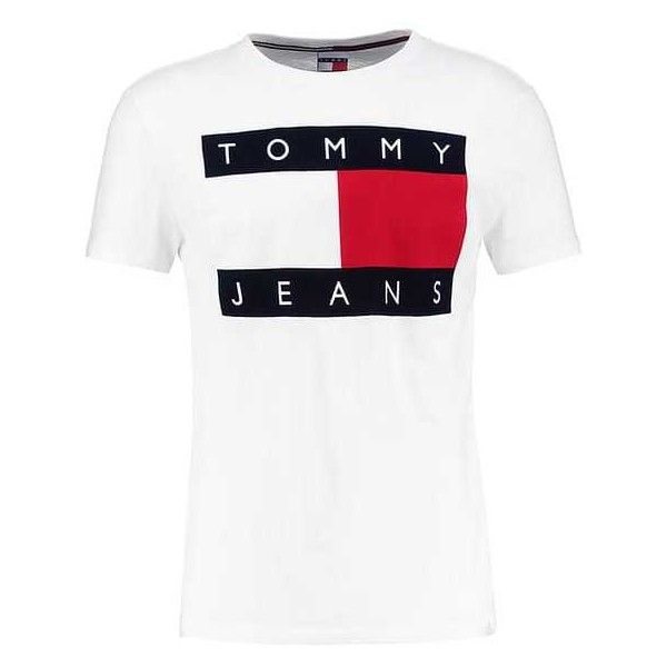 7f70142bef411 TOMMY JEANS 90S Print T-shirt white ( 45) ❤ liked on Polyvore featuring  tops