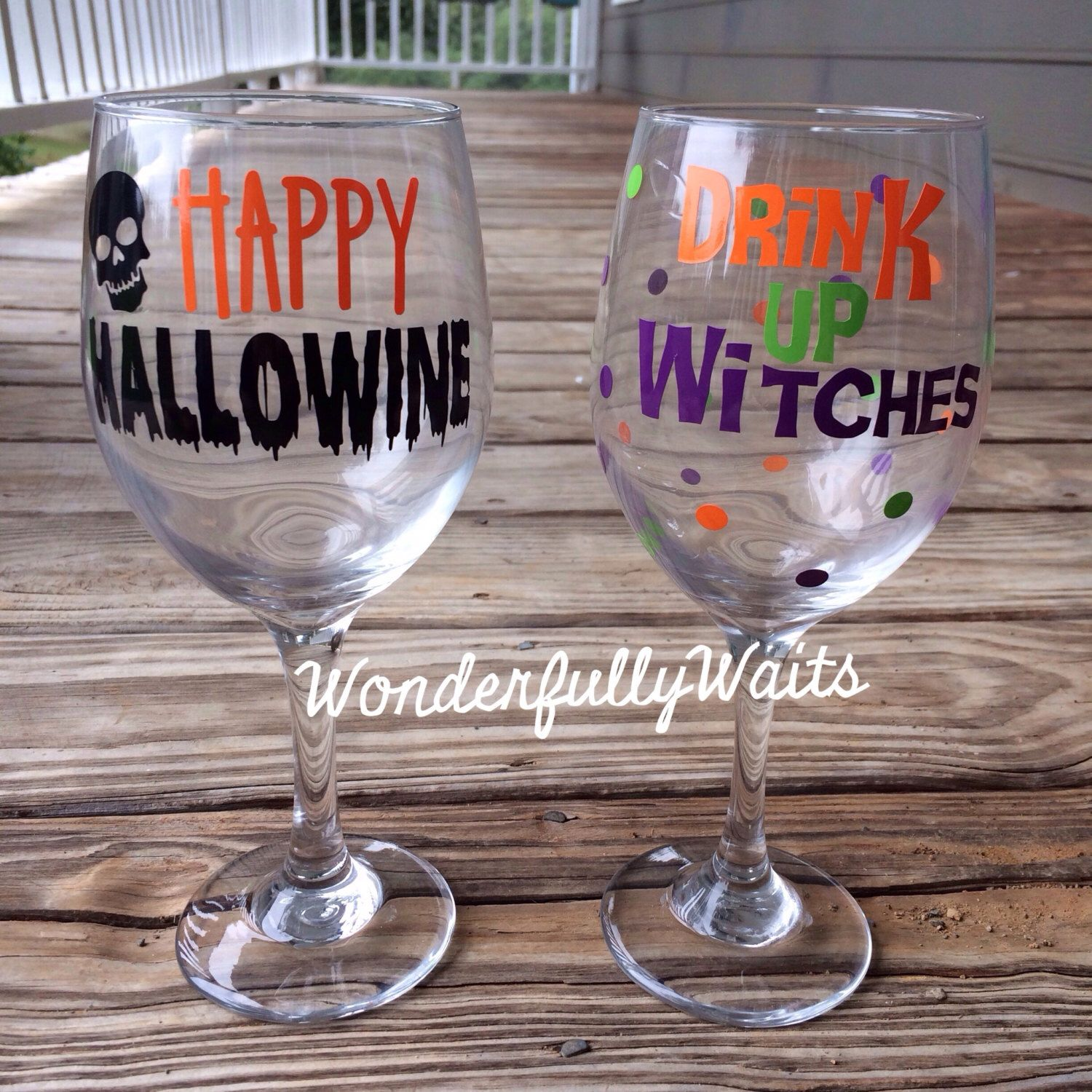 DIY SERIES Halloween Wine Glass Vinyl Decal Happy Hallowine - Vinyl decals for drinking glasses