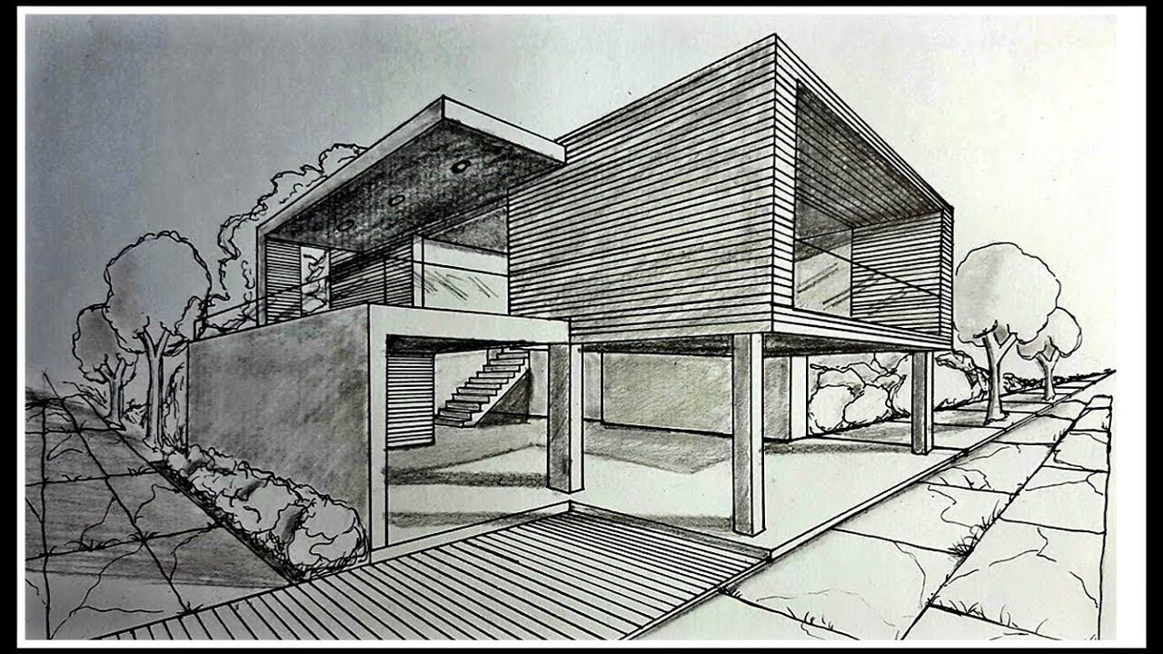 Drawing A Modern House In Two Points Perspective Time Lapse House Design Drawing Interior Architecture Drawing Perspective Drawing