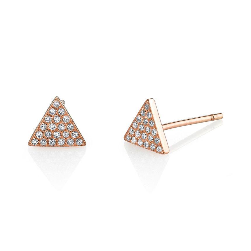 5cb05612a Diamond triangle stud earrings | Jewels | Earrings, Stud earrings ...