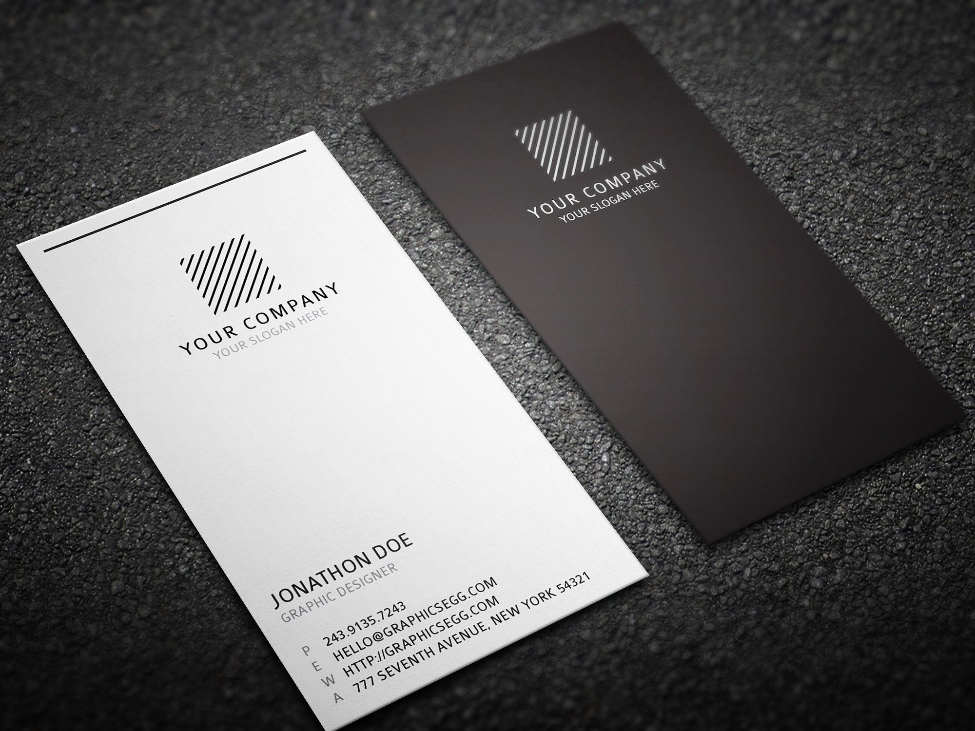 Clean Minimal Vertical Business Card By Graphicsegg On