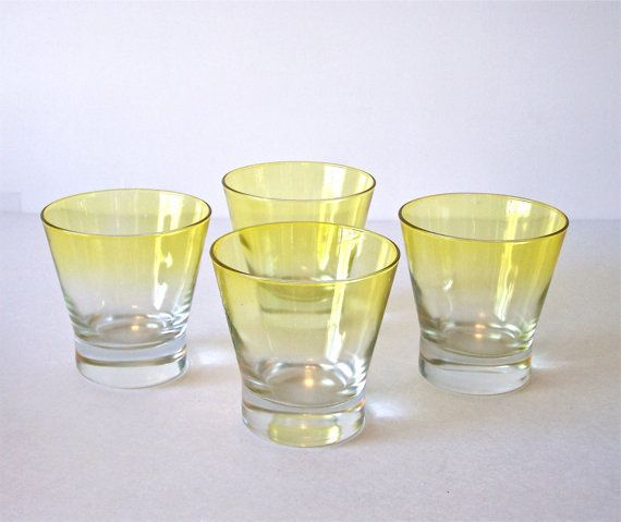 Mid Century Cocktail Glasses Vintage Yellow Ombre by vntagequeen on Etsy