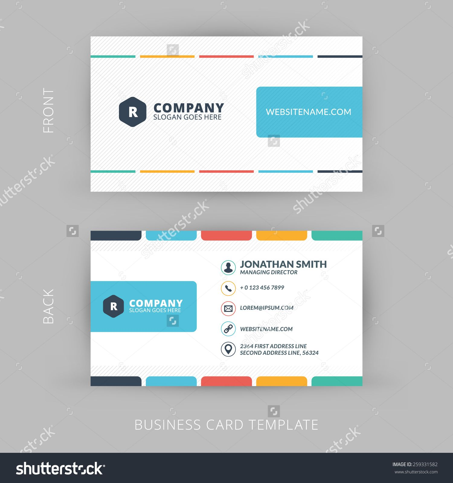 Vector Modern Creative And Clean Business Card Template Flat