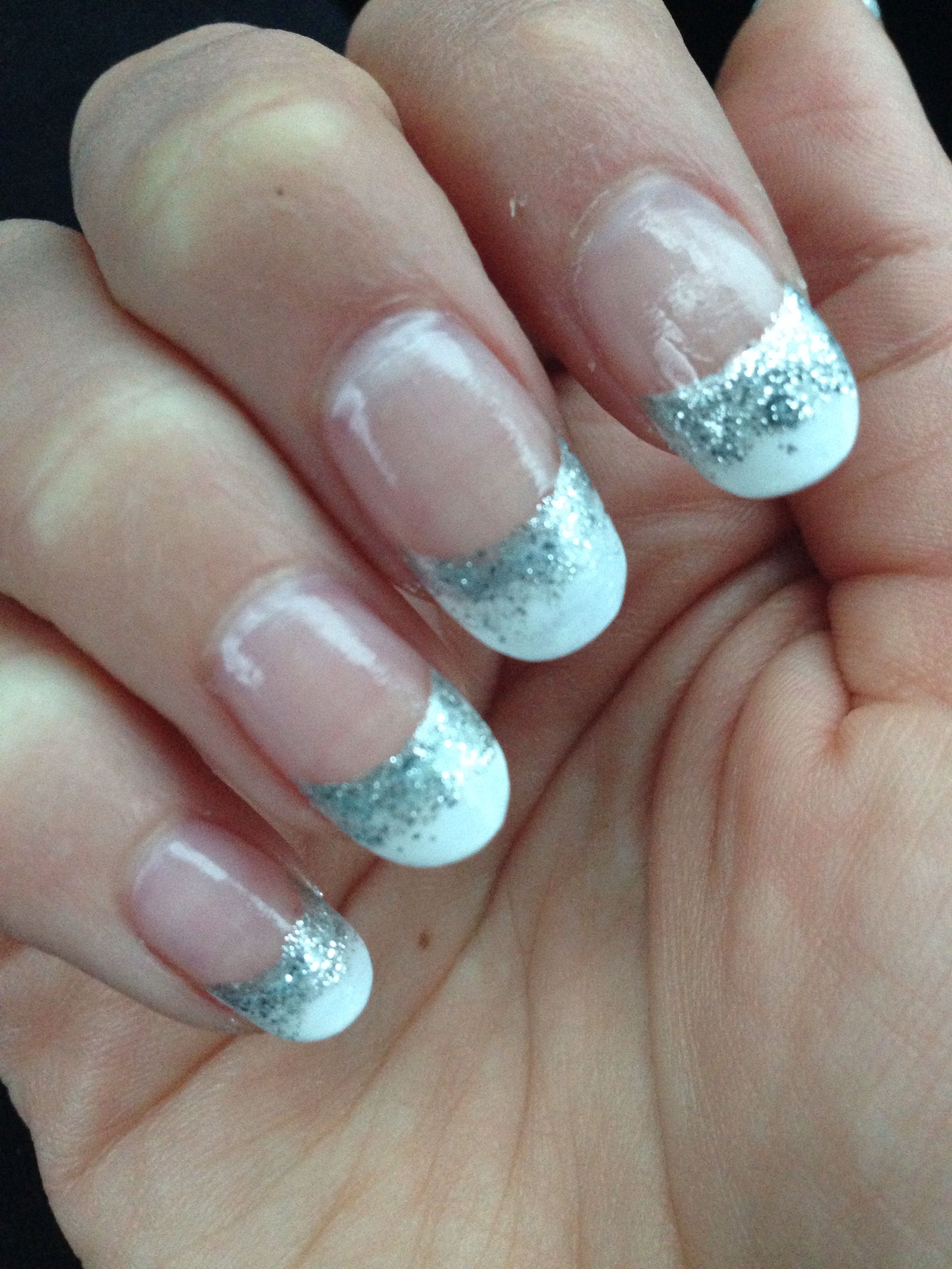 Round #acrylics with a French fade into glitter | kimme | Pinterest ...