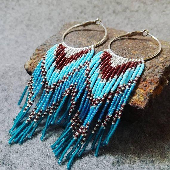 Photo of Samenperlenohrring, Stil der amerikanischen Ureinwohner, Boho-Ohrring, Stammesoh…