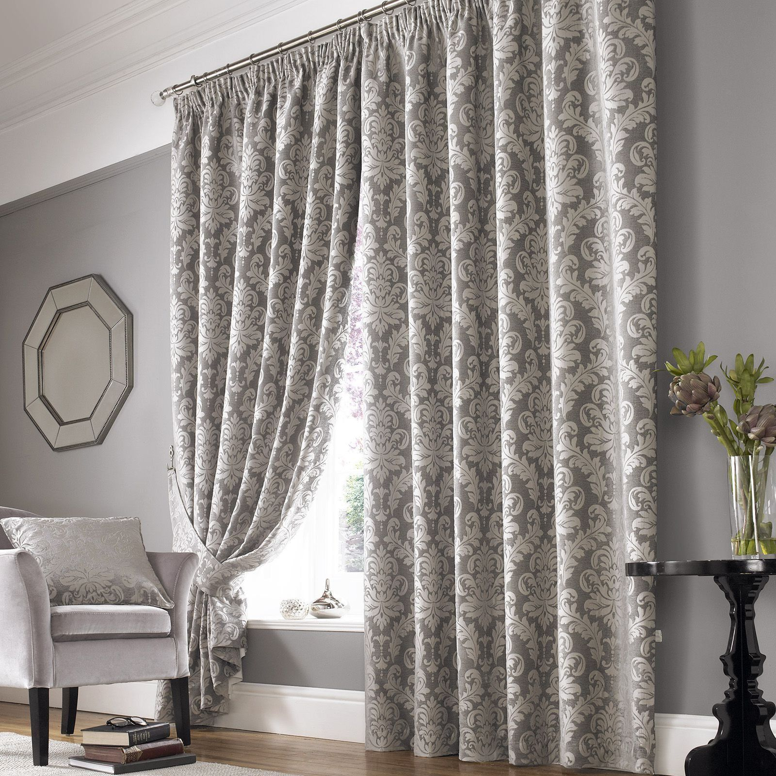 Grey Damask Curtains Hung In For The Window And Grey Walls
