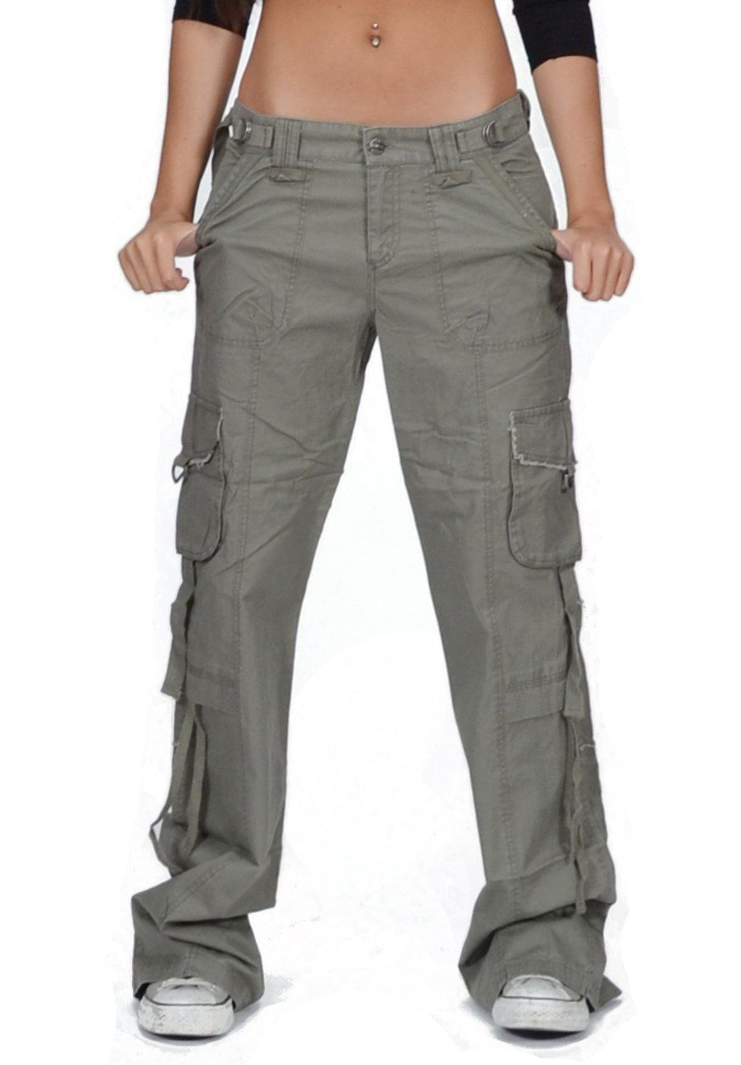Jetlag Victoria Military Pocket Women's Long Cargo Pants in Khaki ...