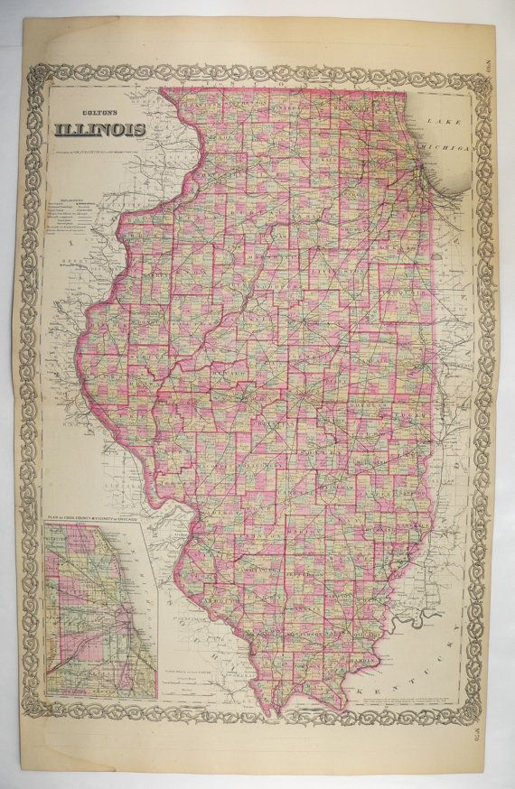 Antique Map of Illinois State Map 1881