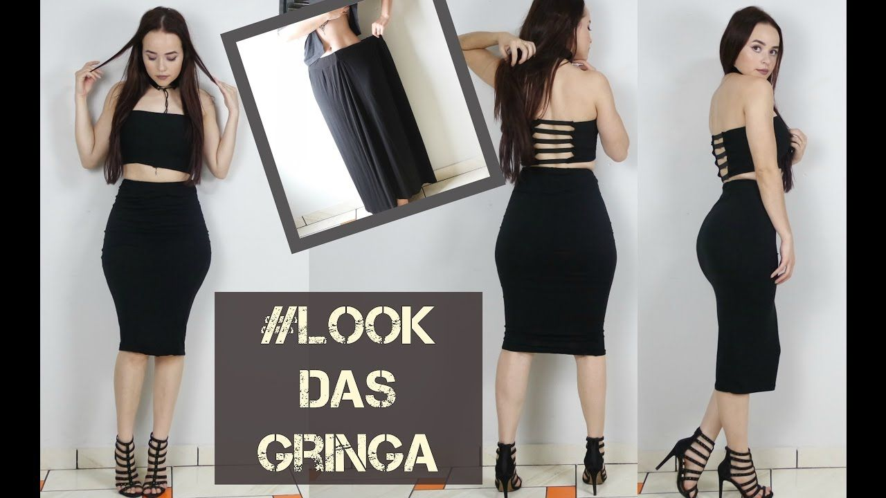 13a77918356 Como transformar saia longa em conjunto de saia lapis e top cropped   lookdasgringa - YouTube