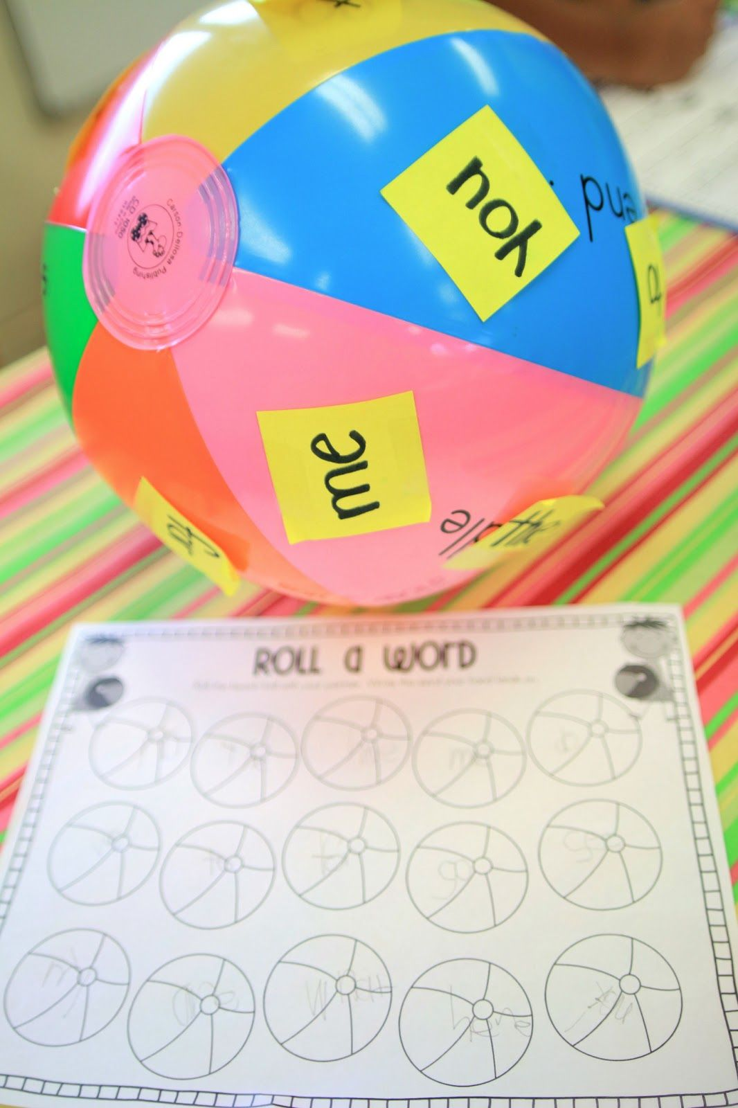 Sight Word Beach Ball Tape A Sight Word To Each Color On Ball Student Rolls Ball To Partner