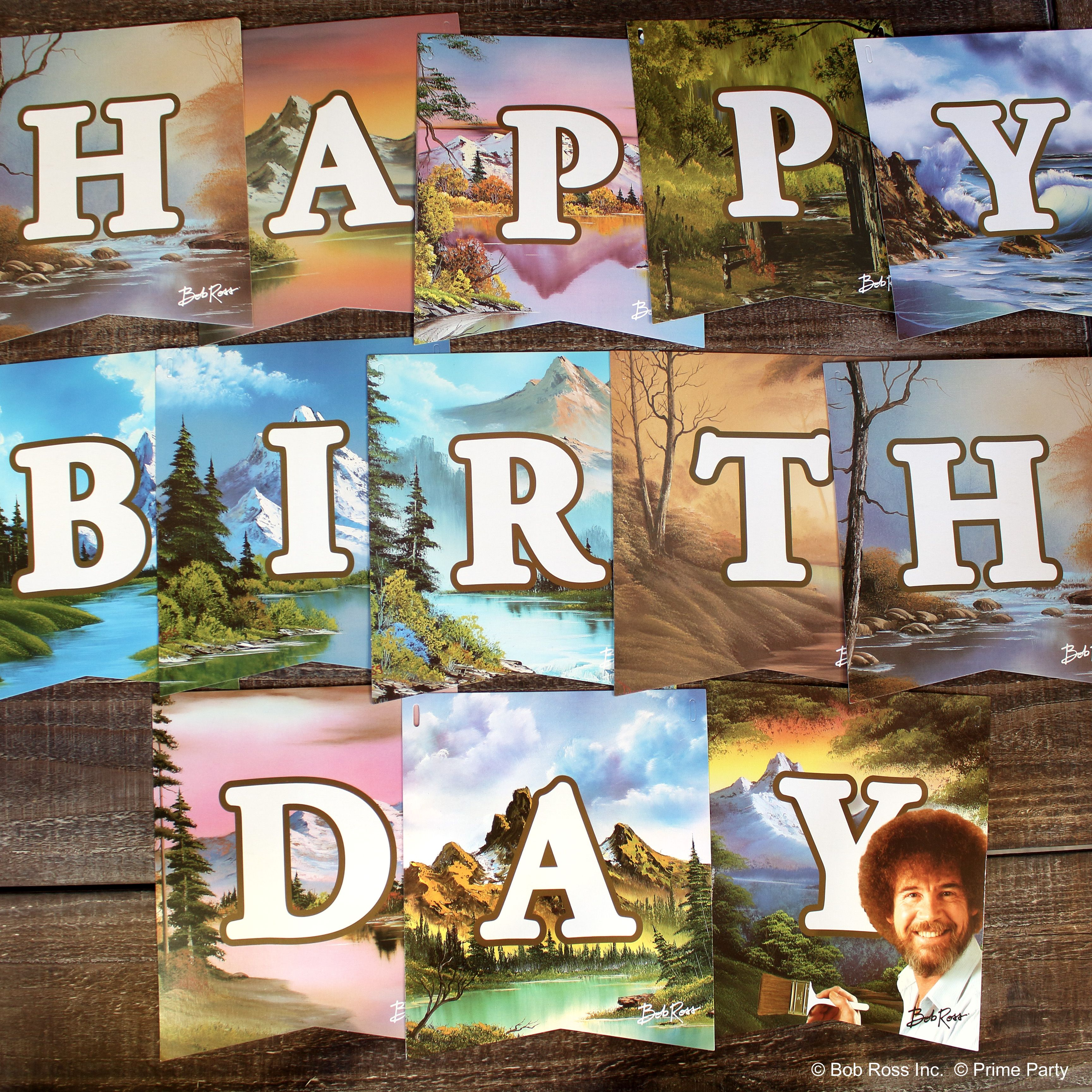 Bob Ross Classic Jointed Birthday Banner Sign in 2020