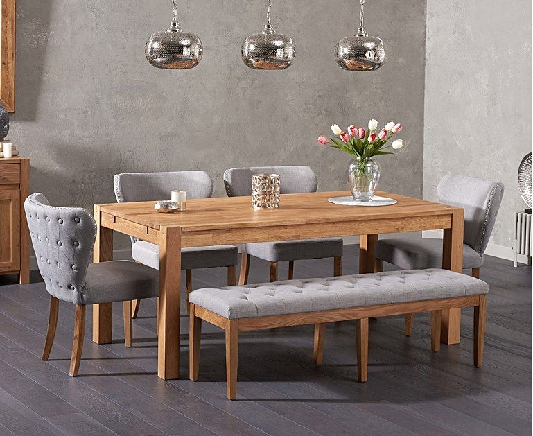 Verona 180cm Solid Oak Dining Table And Isobel Fabric Chairs And