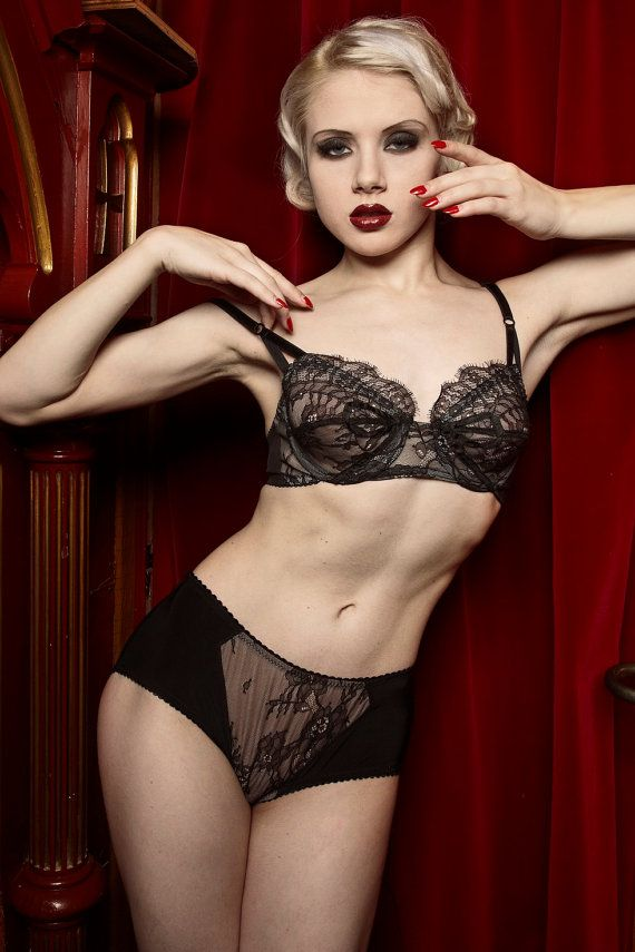 5d9d88c93b Soft Black Lace   Silk Panty Vintage Inspired by dottiesdelights ...