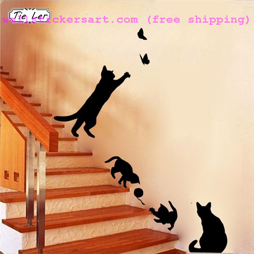 1 set/pack new arrived cat play butterflies removable wall sticker