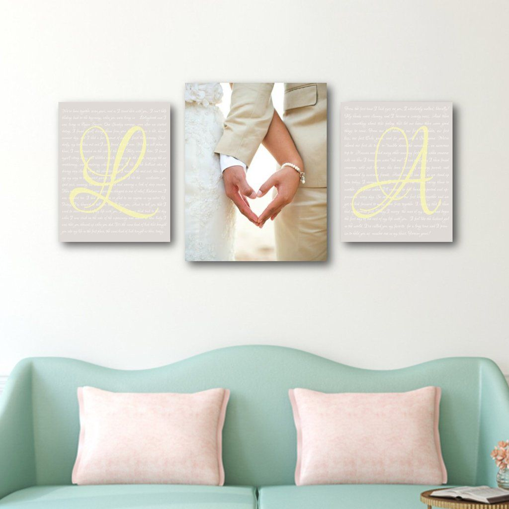 Wedding Vow Art with Photo - Canvas Display Set of 3, wedding vows with photo, anniversary gift idea, wedding vow art