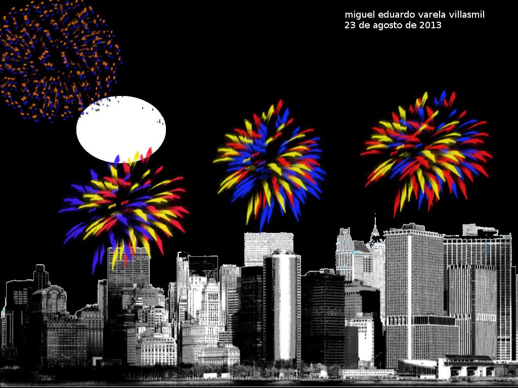 ''fuegos artificiales'' Esta imagen esta creada utilizando los siguientes pinceles: skyline_brush_by_hawksmont9, Glitter_4, Glitter_3. Fuente: Sans numero 18. Medidas: 1024x768. Horientación: Orizontal