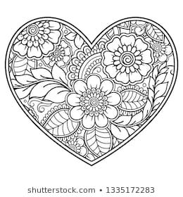 Shutterstock 上 Katika 的图片组合 Heart Coloring Pages Henna Drawings Mehndi Flower