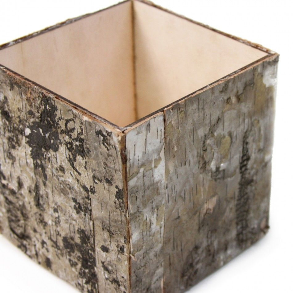 5 Natural Birch Bark Cube Vases Wholesale Wedding Supplies Discount Favors Party And Bulk Event