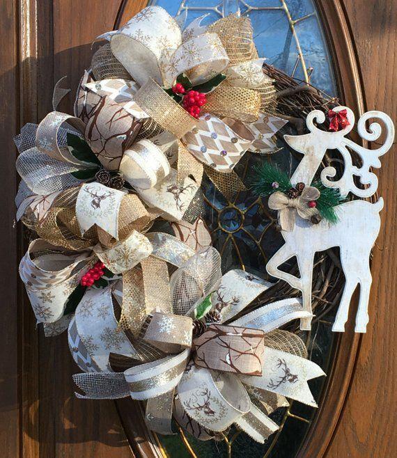 rustic christmas front door wreath  rustikaler jutekranz