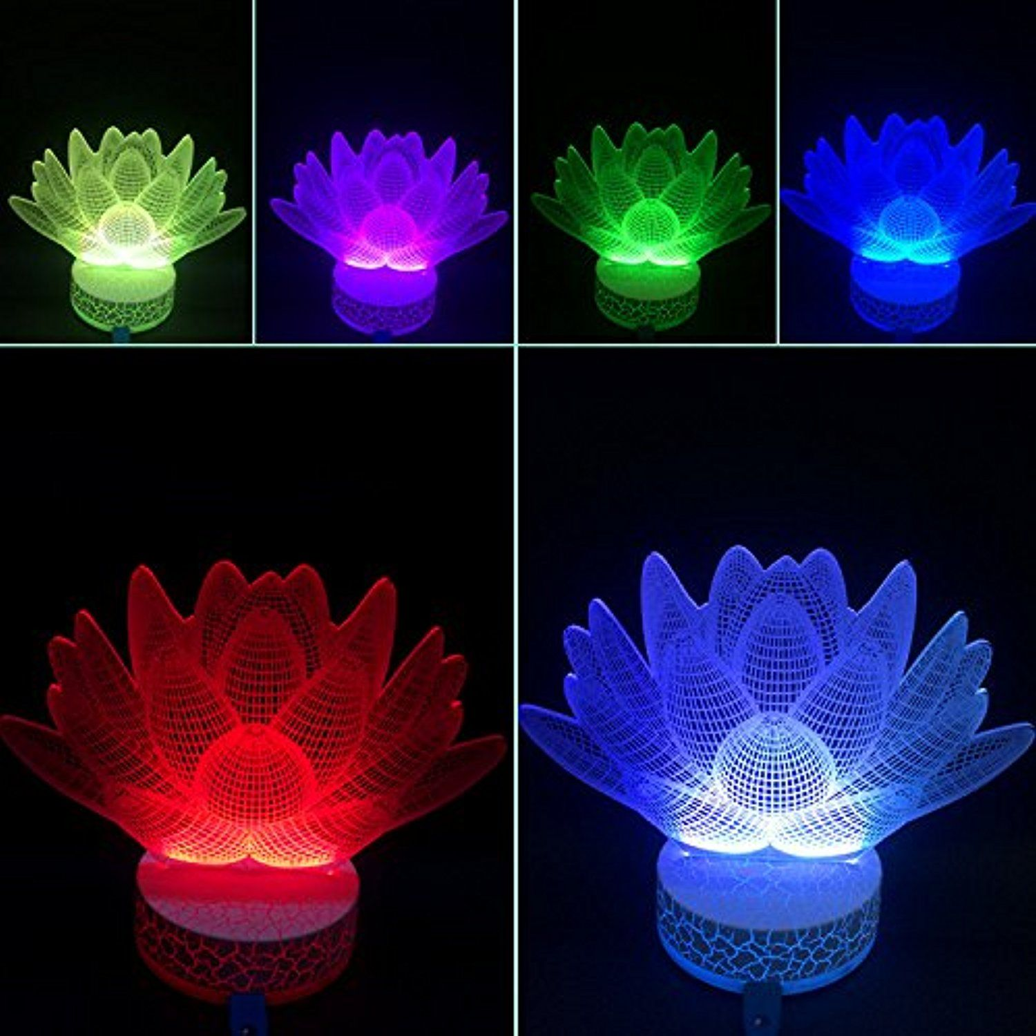3D Illusion Led Night Light Lotus Flower By Azalco **