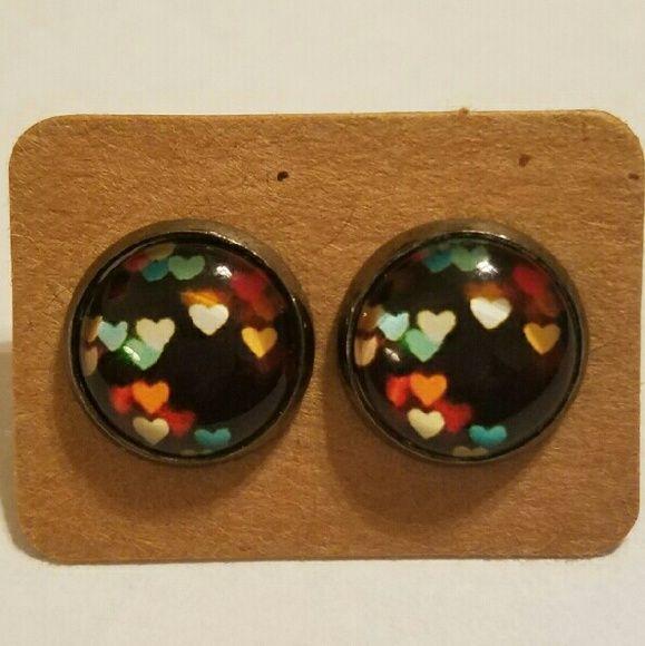 #4 Round Earrings Stainless steel  Hypoallergenic plastic ear backs Jewelry Earrings