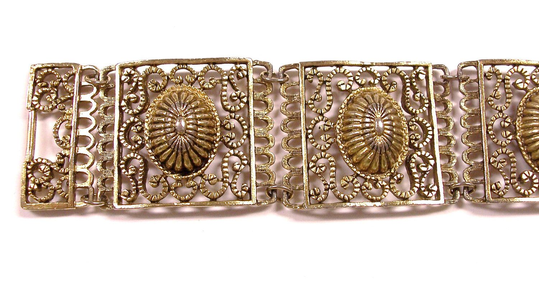 VINTAGE Bracelet Gold Filigree GOLD CHuNKY Unique Ready to Wear Jewelry Destash (Y79). $8.50, via Etsy.